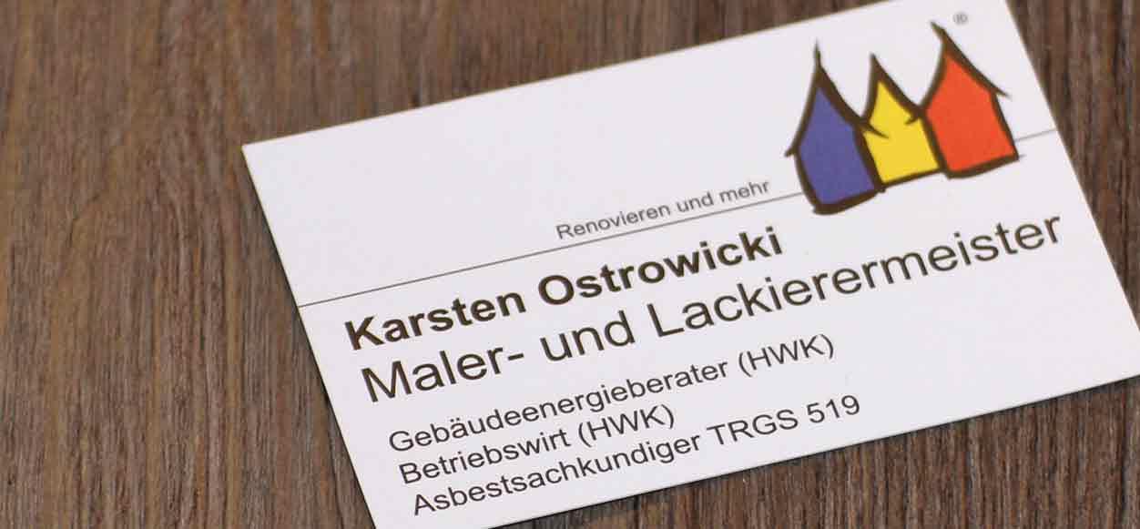 Malermeister Karsten Ostrowicki Visitenkarte